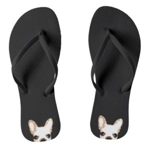 French Bulldog Pop Art Black Flip Flops