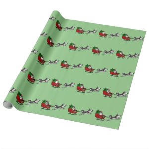Funny Christmas Sleigh with Husky Dog Pulling Wrapping Paper