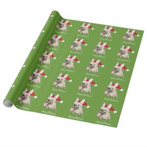 Funny French Bulldog Santa Christmas Pattern Cute Wrapping Paper