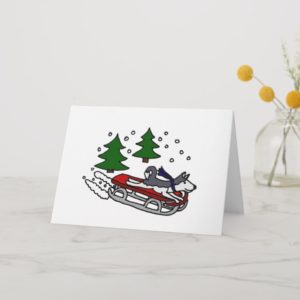 Funny Siberian Husky Dog Riding on Sled Holiday Card