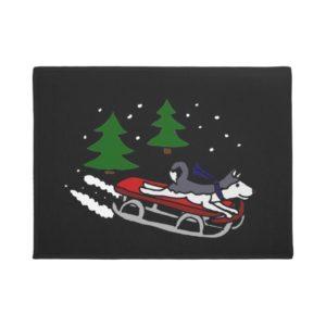Funny Siberian Husky Sledding Doormat
