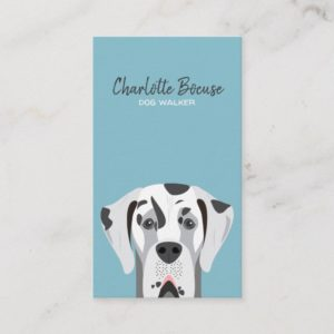 Great Dane Dog Harlequin Black and White Business Card