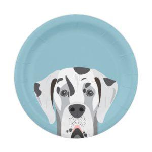 Great Dane Dog Harlequin Portrait Paper Plate