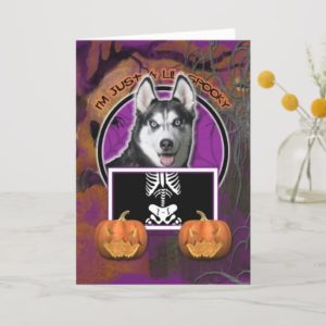 Halloween - Just a Lil Spooky - Siberian Husky Card
