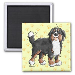 Happy Bernese Mountain Dog Cartoon Magnet