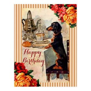 Happy Birthday Vintage dachshund tea party Postcard