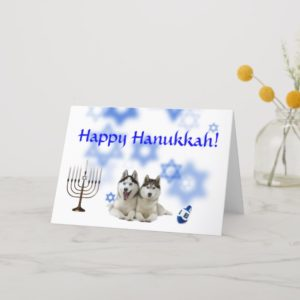 Happy Hanukkah Siberian Husky Holiday Card
