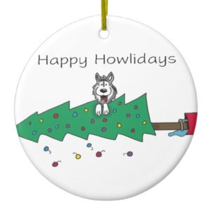 Happy Howlidays Ceramic Ornament