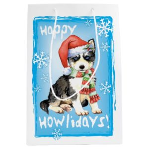 Happy Howlidays Husky Medium Gift Bag