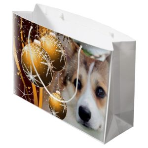Holiday Corgi with Bulbs Large Gift Bag