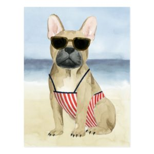 Hot Dog | Puppy In Sunglasses At The Beach Postcard