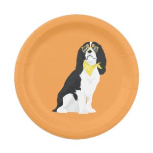 Houston The Tri-Color Cavalier Spaniel Dog Paper Plate