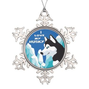 I Love my Siberian Husky Snowflake Pewter Christmas Ornament
