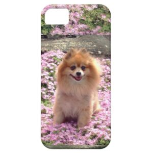 ID/Credit Card iPhone 5 Pomeranian Pink Flowers Case-Mate iPhone Case