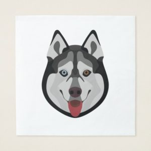 Illustration dogs face Siberian Husky Paper Napkin