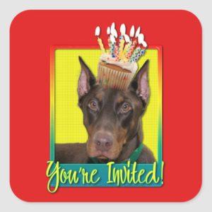 Invitation Cupcake - Doberman - Red - Rocky Square Sticker