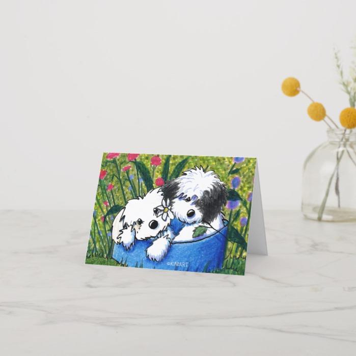 KiniArt Havanese Flowerbed Card