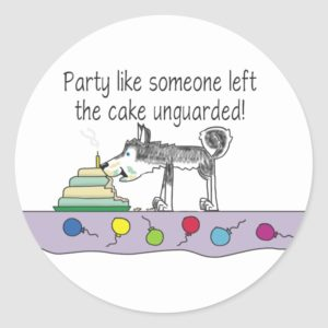 Let loose your party dog classic round sticker