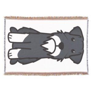 Miniature Schnauzer Dog Cartoon Throw