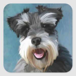 Miniature Schnauzer Water Color Art Painting Square Sticker