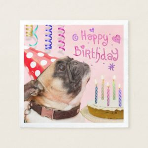 Party Pug and Birthday Cake Paper Napkin