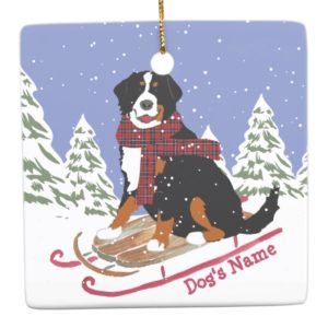 Personalized Christmas Bernese Mt Dog Sledding Ceramic Ornament