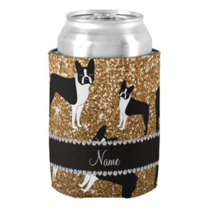 Personalized name gold glitter boston terrier can cooler
