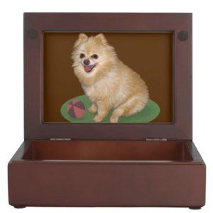 Pomeranian Dog with Ball Customizable Memory Box