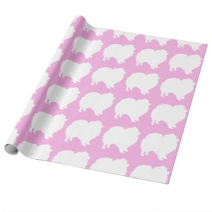 Pomeranian wrapping paper white silhouette pink