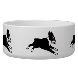 Running Boston Terriers Dog Bowl
