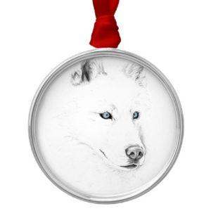 Saber A Siberian Husky Drawing Art Blue Eyes Metal Ornament
