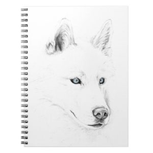 Saber A Siberian Husky Drawing Art Blue Eyes Notebook