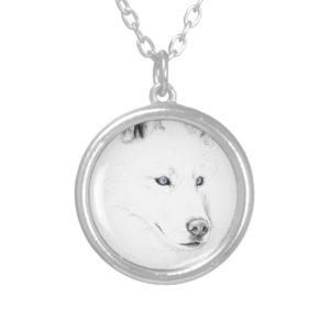 Saber A Siberian Husky Drawing Art Blue Eyes Silver Plated Necklace