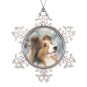Sable Sheltie Christmas Snowflake Pewter Christmas Ornament