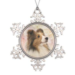 Sable Sheltie face Snowflake Pewter Christmas Ornament