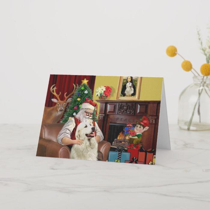 Santa's GreatPyrenees Holiday Card