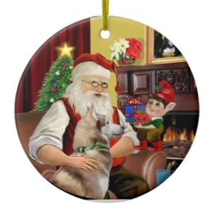 Santa's Red Siberian Husky Ceramic Ornament