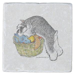 Schnauzer in Toy Basket Marble Coaster