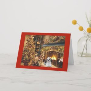 Shih Tzu Christmas Card Fireplace1