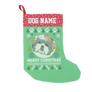 Shih Tzu Dog Breed Ugly Christmas Sweater Small Christmas Stocking