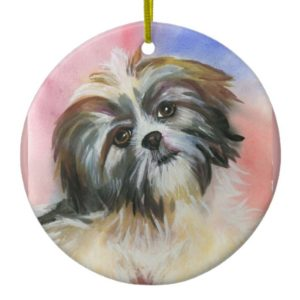 shih tzu dog ceramic ornament