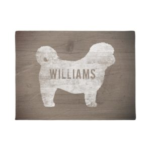 Shih Tzu Dog Silhouette Rustic Style Personalized Doormat