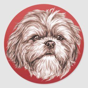 Shih Tzu Sketch Classic Round Sticker