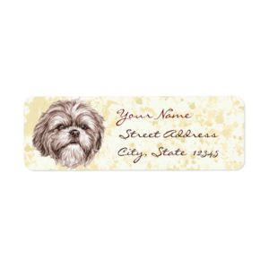 Shih Tzu Sketch Label