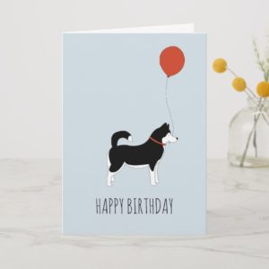Siberian Husky Birthday Card