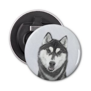 Siberian Husky (Black and White) Painting Dog Art Bottle Opener