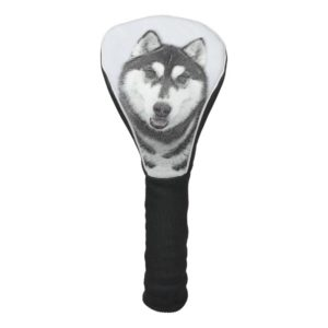 Siberian Husky (Black and White) Painting Dog Art Golf Head Cover