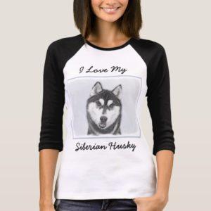 Siberian Husky (Black and White) Painting Dog Art T-Shirt