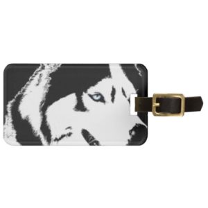 Siberian Husky Blk & White Luggage Tag