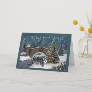 Siberian Husky Christmas Evening Holiday Card